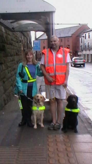 Alan and Sandra with their guide dogs Velvet and Darcy